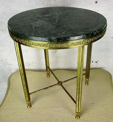 Small Round Side Coffee Table Green Marble top Ornate Brass  Hollywood Regency