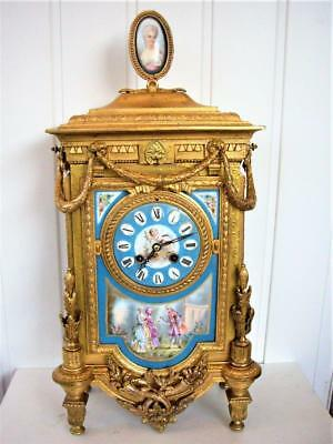 GUILDED & PORCELAIN FRENCH 19th CENTURY TABLE CLOCK  restored.