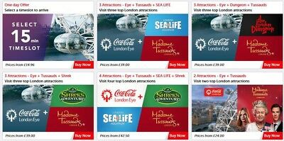 London Eye, Madam Tussauds, Sea Life, Discount Tickets Site