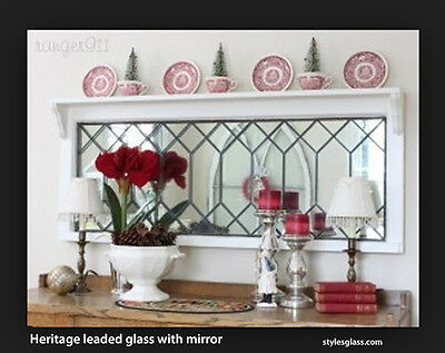 "Genuine Mirror Leaded Glass  Heritage design 14 x 30"" handcrafted make all sizes"