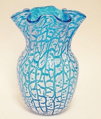 Vintage HANDCRAFTED Studio Art-Glass BLUE GLASS RUFFLED VASE Craquelle Overshot
