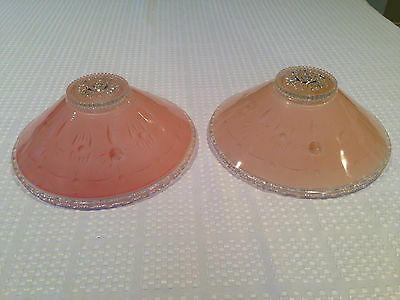 2 Antique ART DECO Clear & Pink Glass 3-hole CEILING LIGHTING FIXTURE SHADES