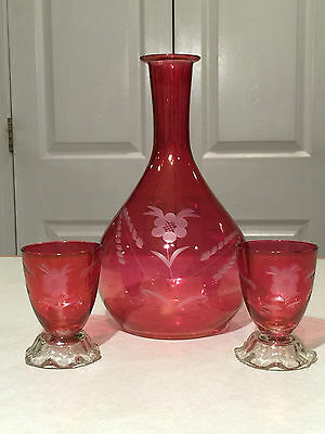 Vtg CRANBERRY RUBY RED FLASH Wheel-Cut Floral Etched DECANTER & CORDIAL GLASSES