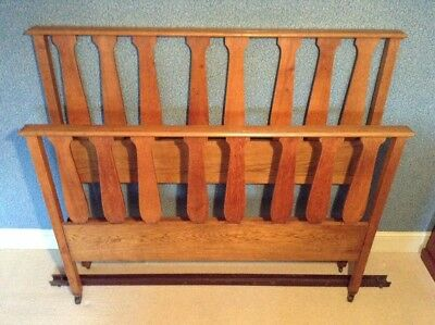 Original Arts and Crafts Oak Bed frame c.1900 Heals/Libertys