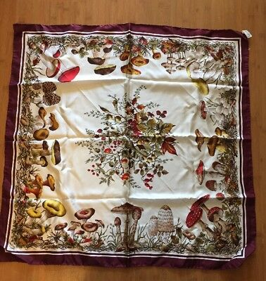 Vintage 100%SILK ECHO DESIGNER Scarf MUSHROOMS GALORE Made In Italy Browns &  Go