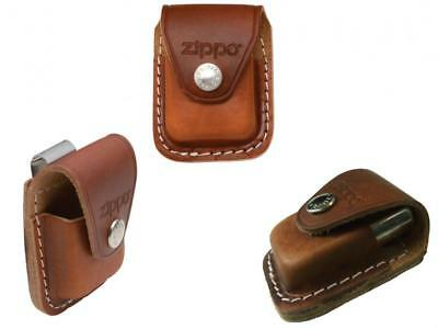 Fliptop Leather Lighter Pouch Holder case with Belt Clip Brown Genuine Pouch NEW