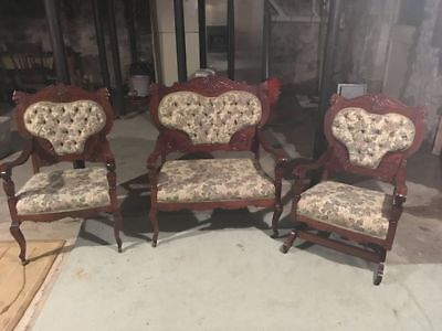 Victorian Ornate Settee, Chair & Rocker Set w Carved Lion Heads / Amazing Cond.
