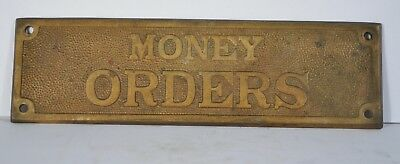 Antique Money Orders Brass Bronze Plaque Plate Bank Po Country Store