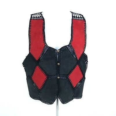 Vintage Leather Suede Vest Womens Patchwork Crochet Black Red Button Front