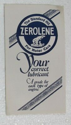 Original Old Zerolene Standard Oil For Motor Cars Brochure Polar Bear Tin Cans