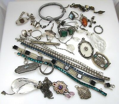 Great Repair Lot Of Sterling Silver Antique Ring Bracelet Necklace Pin Old