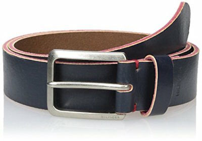 Tommy Hilfiger Men's Painted‑edge Leather Dress Belt Navy - Size 44 42 34