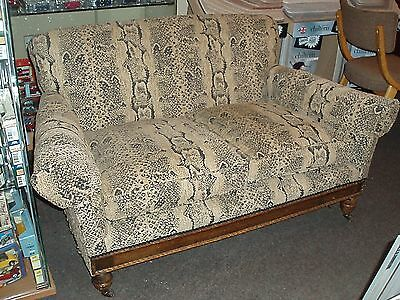 Shabby Chic 1920's Parlour Salon 2 Seater Sofa With Casters