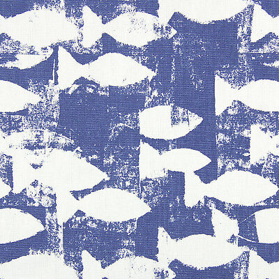 Prestigious Shoal Indigo Fish Curtain Upholstery Craft Designer Fabric Crafts