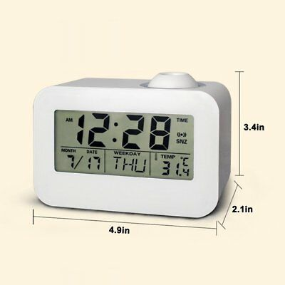 Projection Clock Digital LCD Voice Talking Bedside Students LED Quiet Snooze Ala