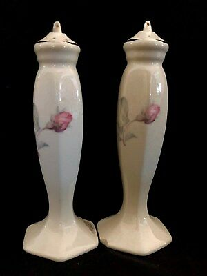 Antique Tall China Salt and Pepper Shakers, Rosebuds with Gold Trim NR