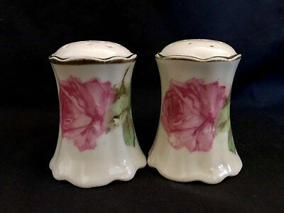 Royal Austria Decorated Rose and Gold China Salt and Pepper Shakers, NR