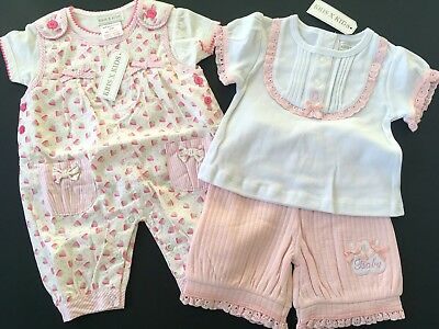 Baby Girls 0-3 months Bundle 2 Sets Strawberry Dungaree & Classic Cotton Set NWT