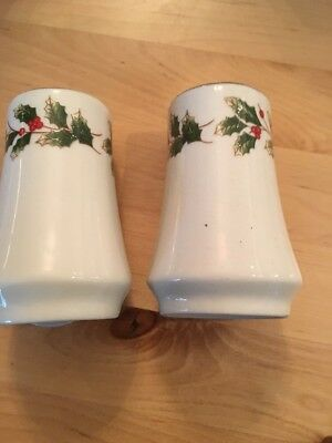 Queen's Fine Bone China Christmas Yuletide Salt & Pepper Shakers Holly