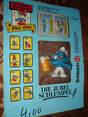 Smurf Jubilee Smurfs Beer Promo 1974 Figure 20th Anniversary Sealed On Card Rare