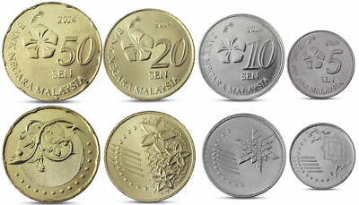 MALAYSIA CURRENCY! 2014 UNC COMPLETE COIN BU SET - 4x COINS 5 + 10 + 20 + 50 SEN