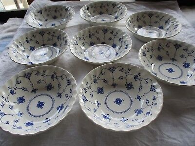 "8 -Myott Finlandia  Salad Soup Cereal Bowls  6 1/4""   blue white scalloped edges"