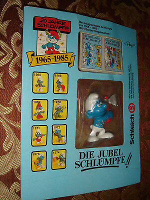 Smurf Jubilee Smurfs Promo With Axe 1975 Figure 20th Anniversary Sealed On Card