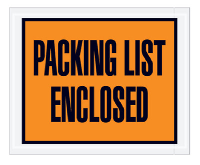 "Pick Quantity 1-3000 Orange Packing List Enclosed Envelopes 4.5x5.5"" Peel&Stick"