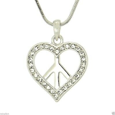 "Heart Peace Made With Swarovski Crystal Clear Pendant Necklace 18"" Chain Gift"