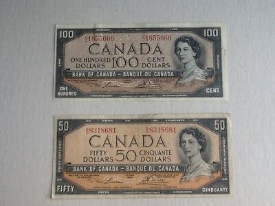 1954 Bank Of Canada $100 & $50 Note's  Canadian Bill's Currency Paper Money