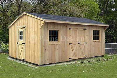 12' x 16' Utility Storage Saltbox Shed Plans, Material List Included #71216
