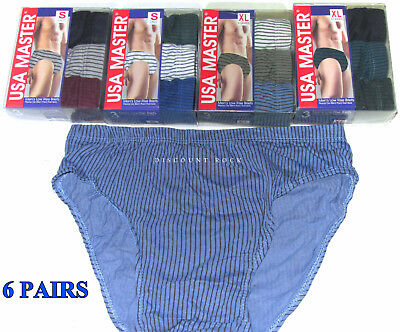 6 Pairs Mens Cotton Low Rise Striped Briefs Underwear Assorted Colors