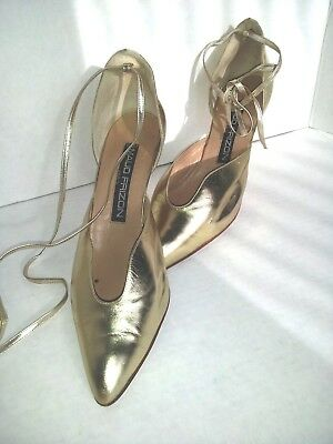Vintage 1980'S Maud Frizon Gold Leather Dress Heels*Ankle Wrap *Size 10B Euro 40