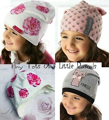 Baby Girls Toddlers Spring Autumn Cotton Elastic Beanie Hat Cap 0 - 4 years