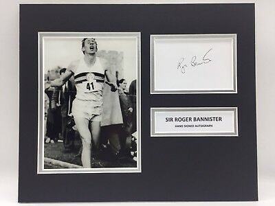 RARE Sir Roger Bannister Signed Photo Display + COA AUTOGRAPH 4 MINUTE MILE RUN