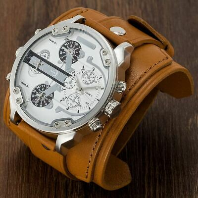 APHOTIC Japan Watchmaker 4 Timezone Watch 7cm Wide Vintage Brown Leather Strap