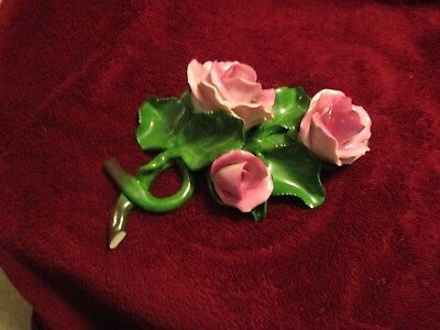 HEREND PINK ROSES ON LEAF Figurine (Repaired)