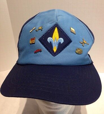 Vintage Webelos Boy Scout Hat Cap With Assorted Pins Snapback Made in USA