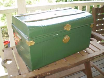 vintage metal trunk ship style or railway trunk 1960s style british racing green