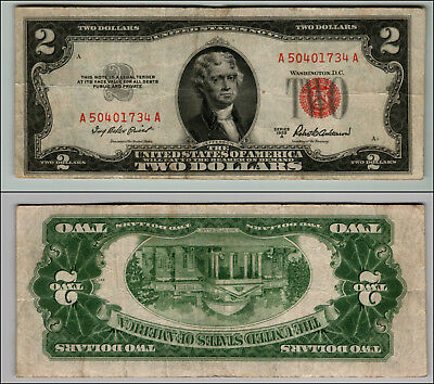 (1)-1953A  Series United States Note Red Seal $2 Two Dollar Bill  LT P684