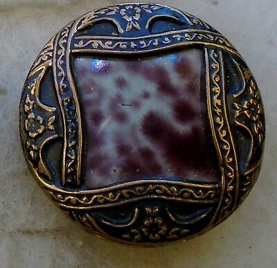 "NICE 1 1/8"" Victorian Celluloid Fancy Pattern Metal Antique Button 603:16"