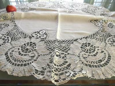 """Antique Chic White Linen Wide Cluny Lace 43"""" Round Tablecloth Topper Bridal"""