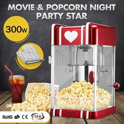 NEW 300W Classic Electric Popcorn Machine Popper Maker Red w/ Measuring Spoon