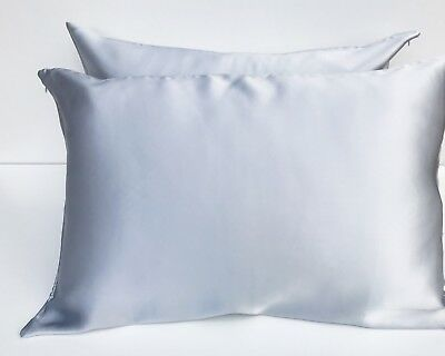 2x LIGHT GREY SILVER 100% Mulberry Silk Pillowcase Pair 22 Momme Premium Quality