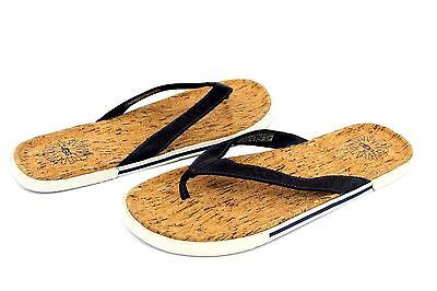 000ef7f8700 UGG BENNISON II Leather Cork Men's Flip Flops Thongs Navy Blue Size ...