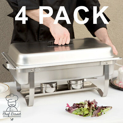 4 Pack Chef Direct - 8 Qt. Full Size Stainless Steel Chafer with folding frame