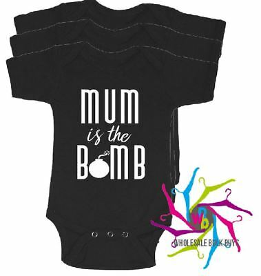 Wholesale Bulk Lot Baby Rompers - Mum Is The Bomb X 4