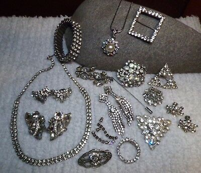 Vintage 1920's To Now RHINESTONE Lot of 17 Pieces EISENBERG~ WEISS~CONTINENTAL