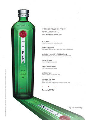 Tanqueray No. Ten print ad 2001 Bottle & Awards