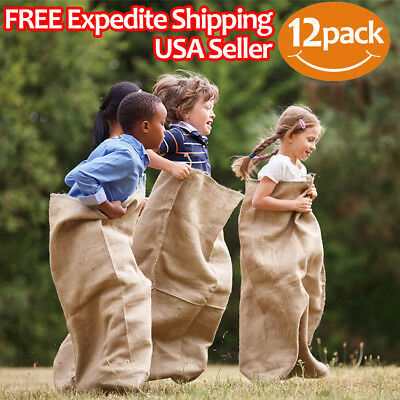 "Premium Burlap Potato Sack Race Bags 24"" x 40"" (Pack of 12) - of Sturdy Rugged"